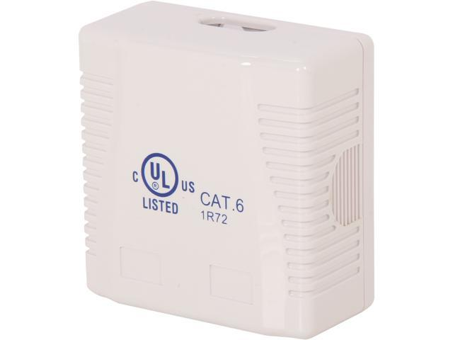 Nippon Labs SMB-C62-WH Cat. 6 Surface Mount Box with 110 Type Jacks,2 Port , White color
