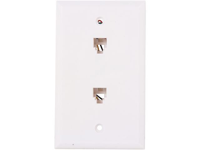 Nippon Labs WP-264-WH Wall Plate with Modular Jack, 6P / 4C, 2 Port Color White