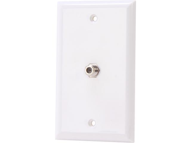 Nippon Labs WP-F1WH Wall Plate with F Connector 1 Port, White Color