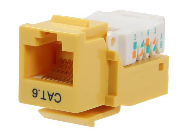 BYTECC RJ45TL-Y Cat. 6 Tool Less Keystone Jack - Yellow