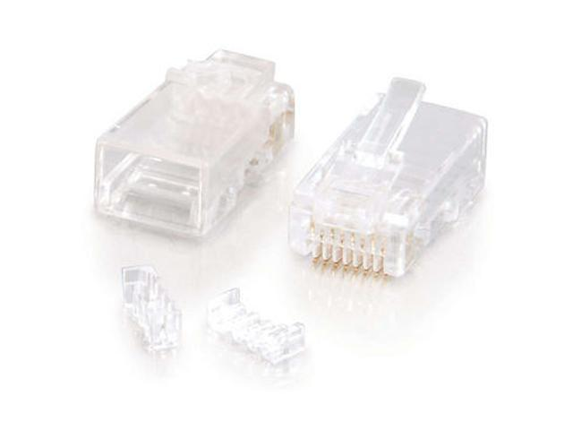 C2G 27575 RJ45 Cat5E Modular (with Load Bar) Plug for Round Solid/Stranded Cable - 100pk