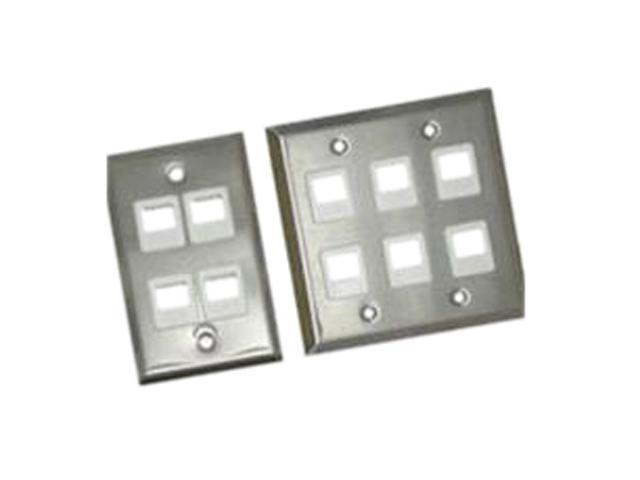 C2G 37096 4-Port Single Gang Multimedia Keystone Wall Plate - Stainless Steel