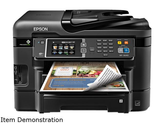 EPSON WorkForce WF-3640 ISO Print Speed: 19 ISO ppm 2-Sided ISO Print Speed: 9.2 ISO ppm Black Print Speed Wireless (802.11 b/g/n) InkJet Workgroup Color Inkjet All-in-One Printer