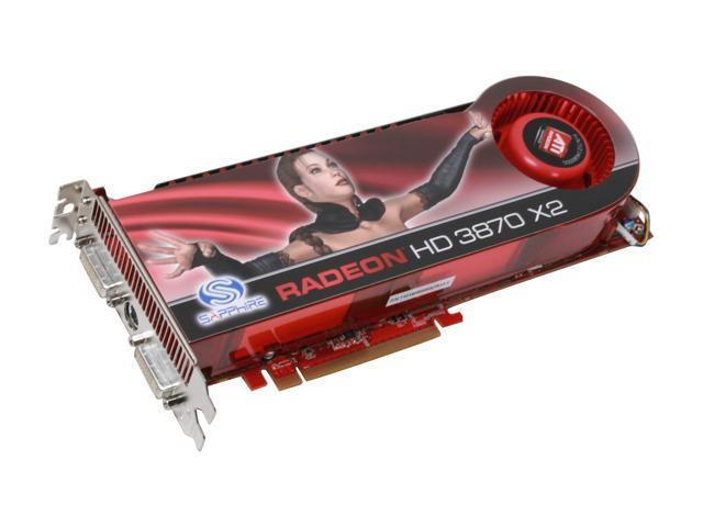 SAPPHIRE Radeon HD 3870 X2 DirectX 10.1 100221SR 1GB (512MB x 2) 256-Bit GDDR3 PCI Express x16 HDCP Ready CrossFireX Support Video Card