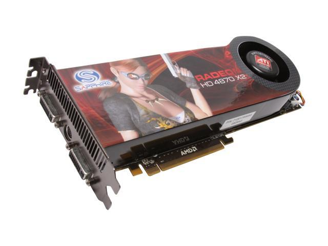 SAPPHIRE Radeon HD 4870 X2 DirectX 10.1 100251SR 2GB 512-bit (256-bit x 2) GDDR5 PCI Express 2.0 x16 HDCP Ready CrossFireX Support Video Card