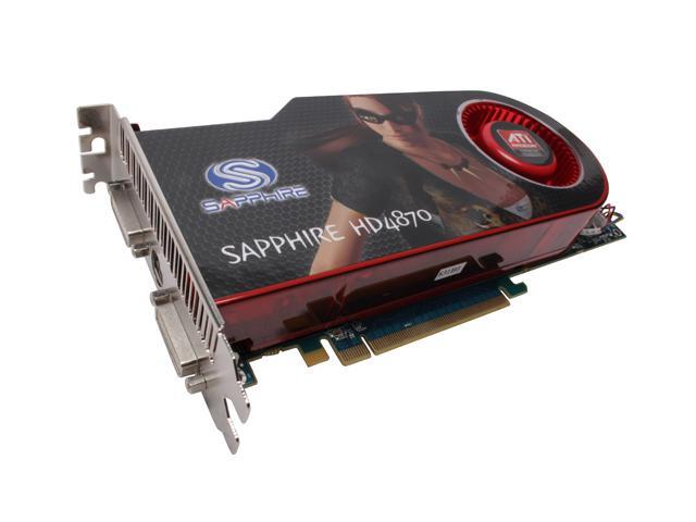 SAPPHIRE Radeon HD 4870 DirectX 10.1 100257L 512MB 256-Bit GDDR5 PCI Express 2.0 x16 HDCP Ready CrossFireX Support Video Card