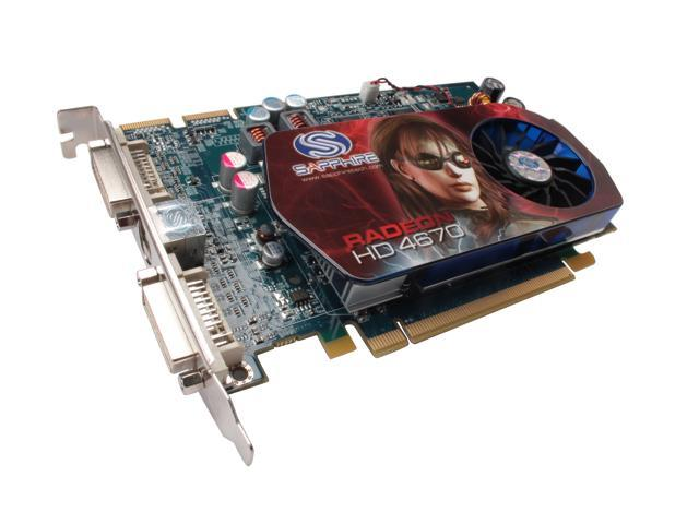 SAPPHIRE Radeon HD 4670 DirectX 10.1 100256L 1GB 128-Bit GDDR3 PCI Express 2.0 x16 HDCP Ready CrossFireX Support Video Card