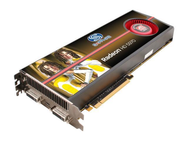 SAPPHIRE Radeon HD 5970 (Hemlock) DirectX 11 100280OCSR 2GB 512 (256 x 2)-Bit GDDR5 PCI Express 2.1 x16 HDCP Ready CrossFireX Support Dual GPU Onboard CrossFire Video Card w/ Eyefinity