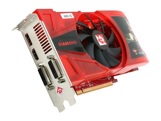 DIAMOND Radeon HD 6850 DirectX 11 6850PE51G 1GB 256-Bit GDDR5 PCI Express 2.1 x16 HDCP Ready CrossFireX Support Video Card with Eyefinity
