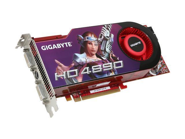 GIGABYTE Radeon HD 4890 DirectX 10.1 GV-R489-1GH-B 1GB 256-Bit GDDR5 PCI Express 2.0 x16 HDCP Ready CrossFireX Support Video Card