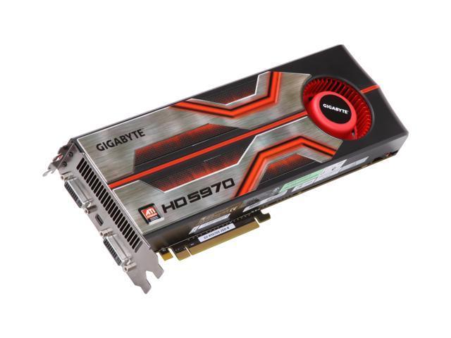 GIGABYTE Radeon HD 5970 (Hemlock) DirectX 11 GV-R597D5-2GD-B 2GB 512 (256 x 2)-Bit GDDR5 PCI Express 2.1 x16 HDCP Ready CrossFireX Support Dual GPU Onboard CrossFire Video Card w/ Eyefinity