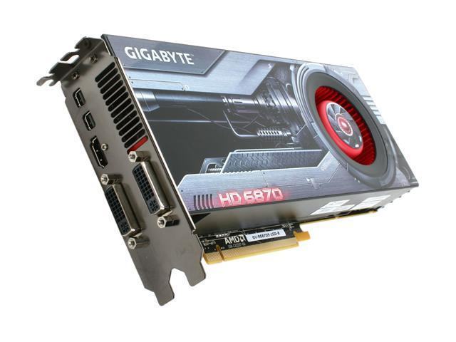 GIGABYTE Radeon HD 6870 DirectX 11 GV-R687D5-1GD-B 1GB 256-Bit GDDR5 PCI Express 2.1 x16 HDCP Ready CrossFireX Support Video Card with Eyefinity