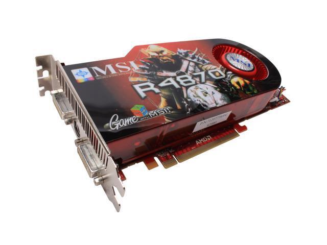 MSI Radeon HD 4870 DirectX 10.1 R4870 T2D1G OC 1GB 256-Bit GDDR5 PCI Express 2.0 x16 HDCP Ready CrossFireX Support Video Card