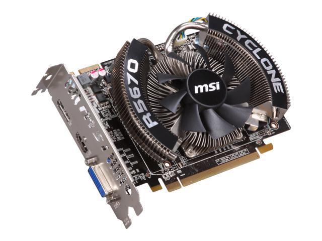 MSI Radeon HD 5670 DirectX 11 R5670 CYCLONE 1G 1GB 128-Bit GDDR5 PCI Express 2.1 x16 HDCP Ready CrossFireX Support Video Card