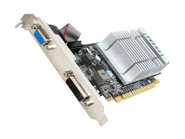 MSI GeForce 8400 GS DirectX 10 N8400GS-D512D3H/LP 512MB 64-Bit DDR3 PCI Express 2.0 x16 HDCP Ready Low Profile Video Card