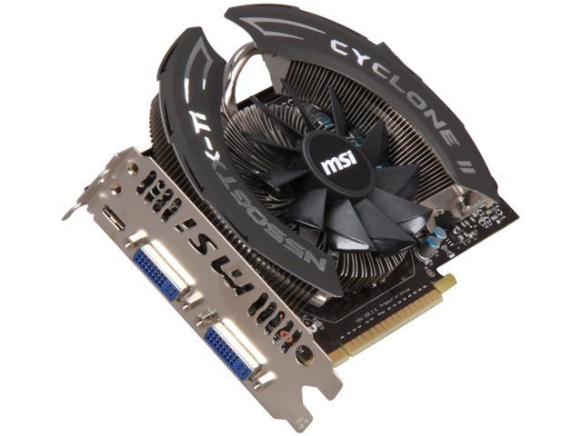 MSI GeForce GTX 550 Ti (Fermi) DirectX 11 N550GTX-Ti Cyclone OC 1GB 192-Bit GDDR5 PCI Express 2.0 x16 HDCP Ready SLI Support Video Card
