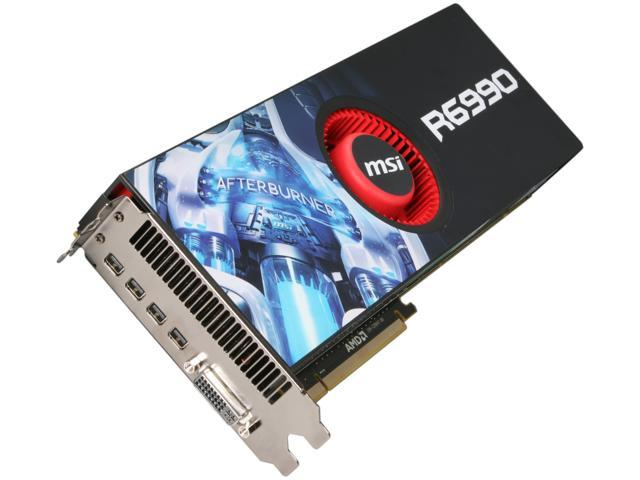 MSI Radeon HD 6990 DirectX 11 R6990-4PD4GD5 4GB 256-Bit GDDR5 PCI Express 2.1 x16 HDCP Ready CrossFireX Support Video Card with Eyefinity