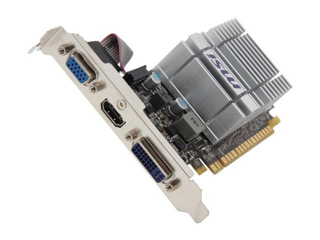 MSI GeForce 210 DirectX 10.1 N210-MD512D3H/TC 512MB onboard (TurboCache 1GB) 64-Bit DDR3 PCI Express 2.0 x16 HDCP Ready Low Profile Ready Video Card