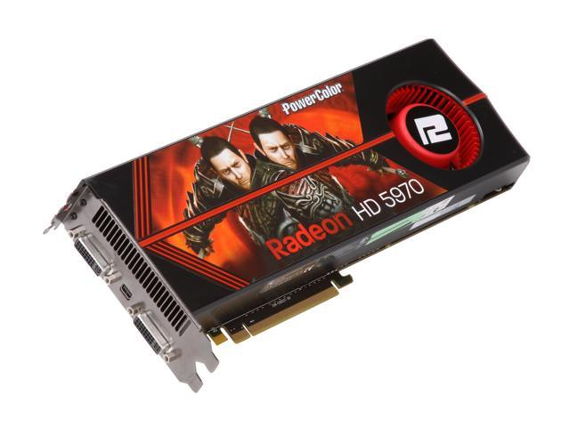 PowerColor Radeon HD 5970 (Hemlock) DirectX 11 AX5970 2GBD5-MD 2GB 512 (256 x 2)-Bit GDDR5 PCI Express 2.1 x16 HDCP Ready CrossFireX Support Dual GPU Onboard CrossFire Video Card w/ Eyefinity