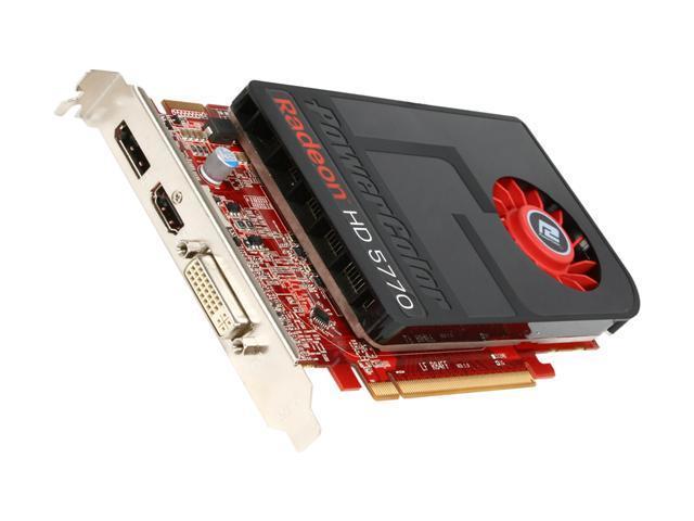 PowerColor Radeon HD 5770 DirectX 11 AX5770 1GBD5-IDH 1GB 128-Bit GDDR5 PCI Express 2.1 x16 HDCP Ready CrossFireX Support Video Card w/ Eyefinity