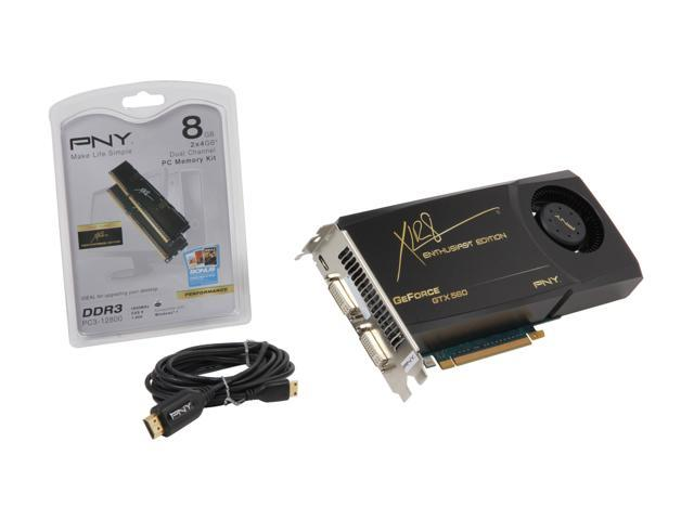 PNY XLR8 GeForce GTX 560 (Fermi) DirectX 11 VCGGTX560XPB-BF3 Video Card with Battlefield 3 Coupon, 8GB Memory Kit and HDMI ...