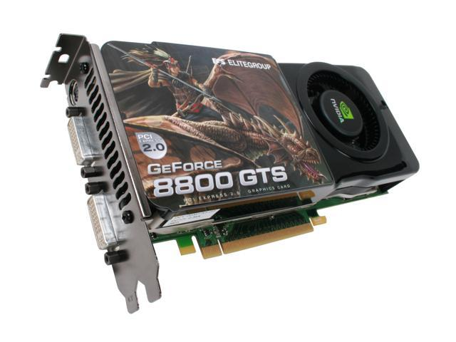 ECS GeForce 8800GTS (G92) DirectX 10 N8800GTS-512MX 512MB 256-Bit GDDR3 PCI Express 2.0 x16 HDCP Ready SLI Support Video Card