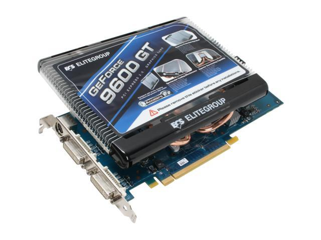ECS GeForce 9600 GT DirectX 10 N9600GT-512MX-P 512MB 256-Bit GDDR3 PCI Express 2.0 x16 HDCP Ready SLI Support Video Card