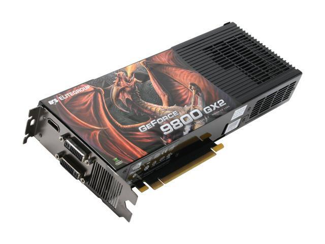 ECS GeForce 9800 GX2 DirectX 10 N9800GX2-1024PX-F Video Card
