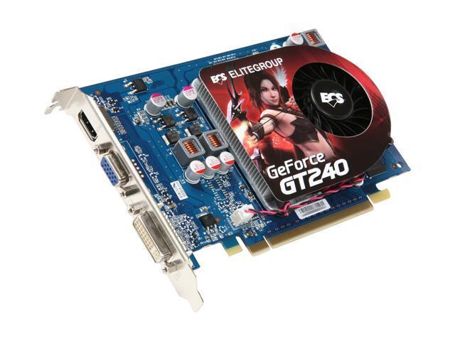 ECS GeForce GT 240 DirectX 10.1 NGT240-1GQR-F Video Card