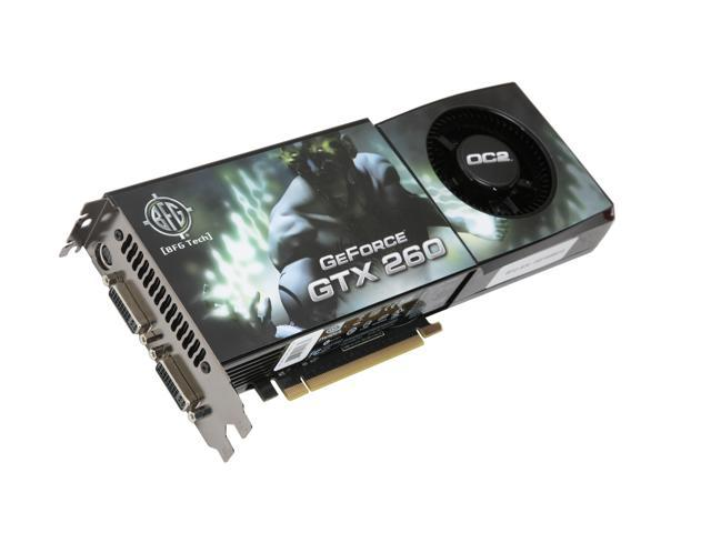 BFG Tech GTX GeForce GTX 260 DirectX 10 BFGEGTX260896OC2E 896MB 448-Bit GDDR3 PCI Express 2.0 x16 HDCP Ready SLI Support Video Card