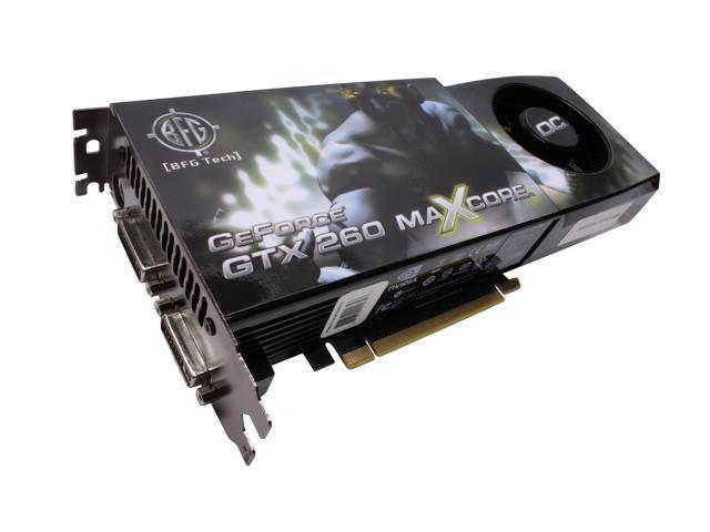 BFG Tech GTX GeForce GTX 260 DirectX 10 BFGEGTX260MC896OCE 896MB 448-Bit GDDR3 PCI Express 2.0 x16 HDCP Ready SLI Support Video Card