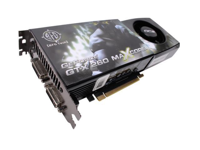 BFG Tech GeForce GTX 260 DirectX 10 BFGEGTX260MC896OC2E 896MB 448-Bit GDDR3 PCI Express 2.0 x16 HDCP Ready SLI Support Video Card