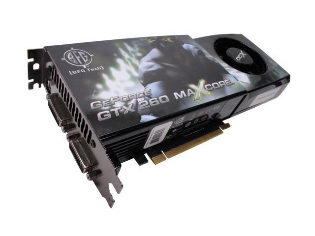 BFG Tech GTX GeForce GTX 260 DirectX 10 BFGEGTX260MC896OCXE 896MB 448-Bit GDDR3 PCI Express 2.0 x16 HDCP Ready SLI Support Video Card