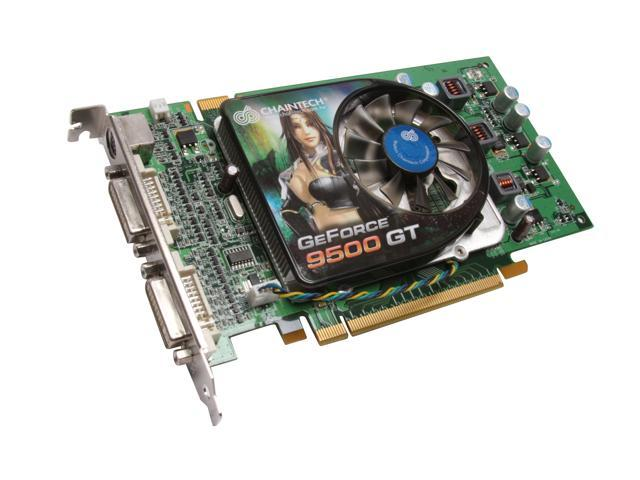 CHAINTECH GeForce 9500 GT DirectX 10 GSE95GT 512MB 128-Bit GDDR3 PCI Express 2.0 x16 HDCP Ready SLI Support Video Card