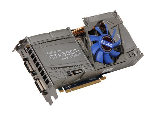Galaxy GeForce GTX 560 Ti - 448 Cores (Fermi) DirectX 11 56NKH3HS4GNK 1280MB 320-Bit GDDR5 PCI Express 2.0 x16 HDCP Ready SLI Support Video Card
