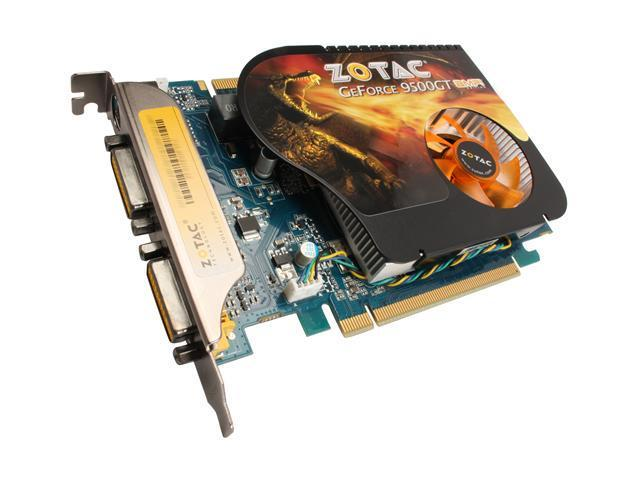 ZOTAC GeForce 9500 GT DirectX 10 ZT-95TES2P-FCL 512MB 128-Bit GDDR3 PCI Express 2.0 x16 HDCP Ready SLI Support Video Card