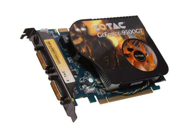 ZOTAC GeForce 9500 GT DirectX 10 ZT-95TES2P-FSL 512MB 128-Bit GDDR3 PCI Express 2.0 x16 HDCP Ready SLI Support Video Card