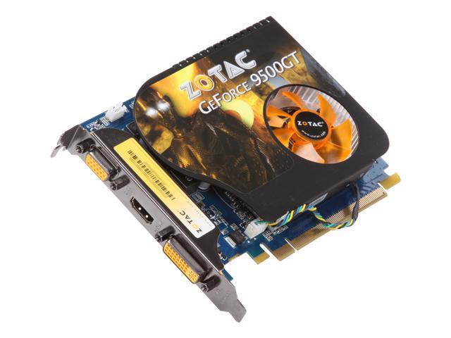 ZOTAC GeForce 9500 GT DirectX 10 ZT-95TEH3M-FSL 512MB 128-Bit DDR2 PCI Express 2.0 x16 HDCP Ready Video Card