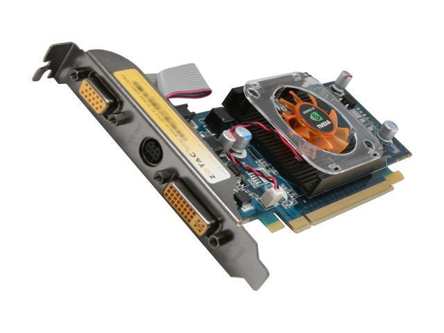 ZOTAC GeForce 8400 GS DirectX 10 ZT-84MEG5P-FSL 256MB (Up to 512MB with TurboCache) 64-Bit DDR2 PCI Express 2.0 x16 HDCP Ready Low Profile Video Card