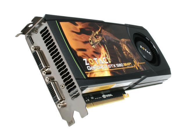 ZOTAC AMP! GeForce GTX 580 (Fermi) DirectX 11 ZT-50102-10P 1536MB 384-Bit GDDR5 PCI Express 2.0 x16 HDCP Ready SLI Support Video Card