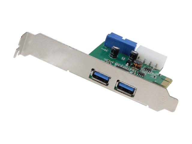 SYBA USB 3.0 External 2-port, 19-pin Header PCI-e Card,IDE Power Feed, Low Profile Bracket Bundled       Model SY-PEX20140