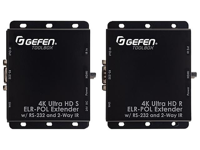 Gefen GTB-UHD2IRS-ELRPOL-BLK 4K Ultra HD Extender Kit for HDMI over CAT5e/6A with RS-232/Bi-Directional IR/POL