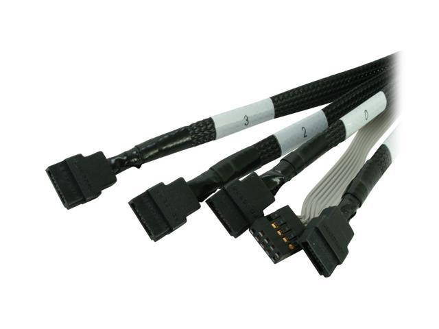 Adaptec 2247000-R Mini SAS x4 (SFF-8087) to (4) x1 SATA Cable with SFF-8448 sideband signals -0.5M