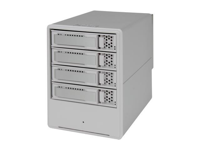 "SANS DIGITAL MobileRAID MR4UT RAID 0, 1, 0+1, 3, 5, JBOD 4 x Hot-Swappable 3.5"" Drive Bays USB 2.0 and eSATA 4 Bay SATA to ..."