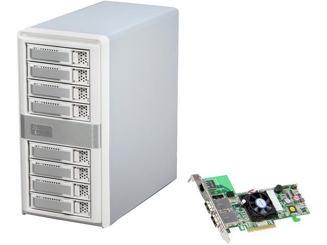 SANS DIGITAL MobileSTOR MS8X6HP 8 Bay SATA/SAS RAID Tower w/ PCIe 2.0 x8 Dual Core Controller