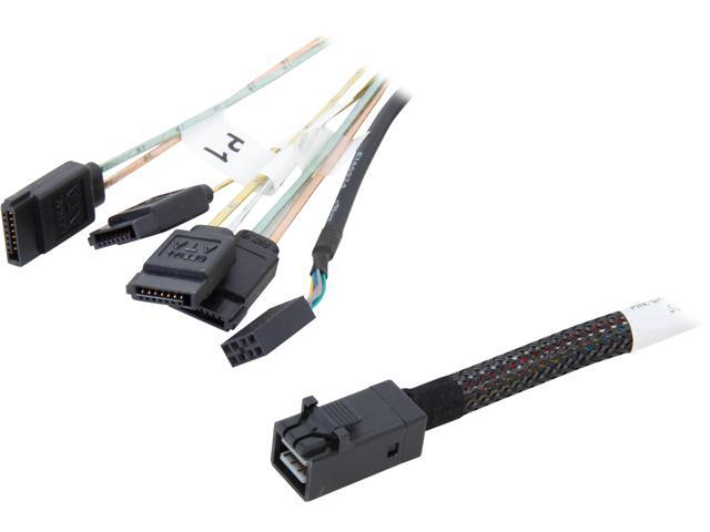 LSI LSI00409 0.5m Internal Cable SFF8643 to x4 SATA HDD (mini SAS HD to SATA data port)--Avago Technologies