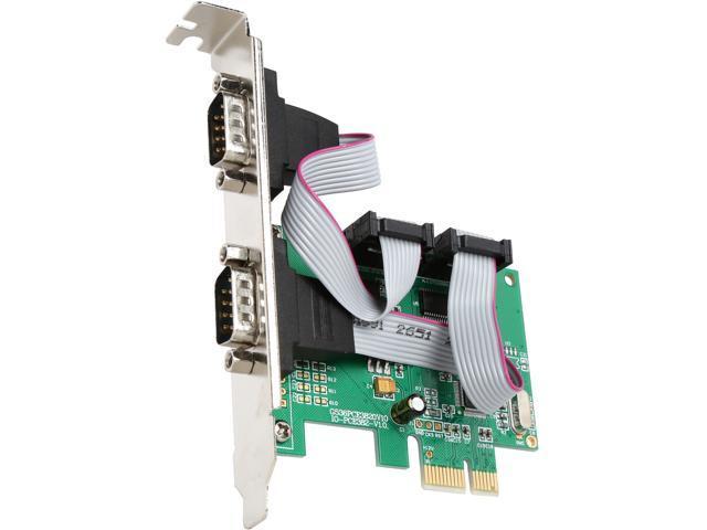 SYBA SI-PEX15058 PCI-e 1.0 x1 Low Profile 2 Port DB9 Serial PCI-e 1.0 x1 Controler Card