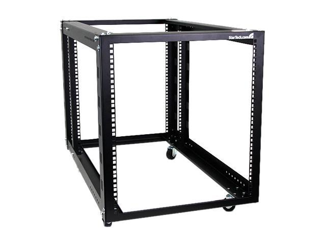 StarTech 4POSTRACK12A 12U 4 Post Server Equipment Open Frame Rack with Adjustable Posts & Casters