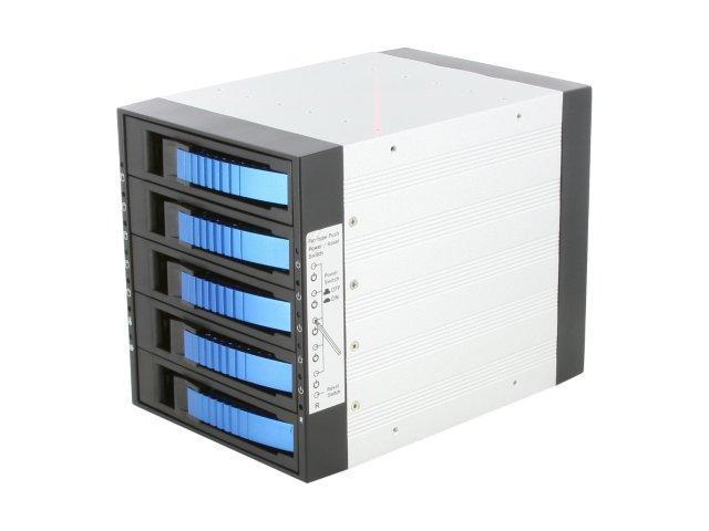 "iStarUSA BPU-350SATA-BLUE 3x5.25"" to 5x3.5"" SAS/SATA 6.0 Gb/s Hot-Swap Cage - OEM"