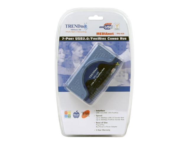 TRENDnet TFU-430 7-Port USB/FireWire Combination Hub